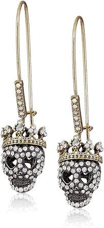 Betsey Johnson Pave Skull Dangle Earrings: Jewelry