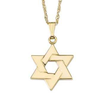 14kt Yellow Gold Star of David Pendant Necklace. 18"