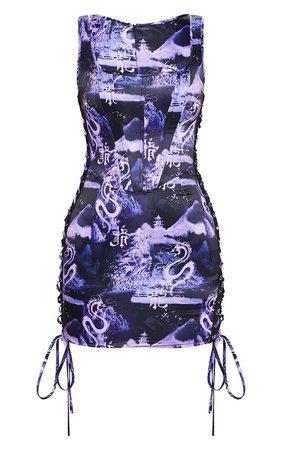 Black Oriental Corset Detail Bodycon Dress | PrettyLittleThing | PrettyLittleThing