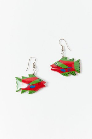 Vintage Red Fish Wooden Earrings | Urban Outfitters