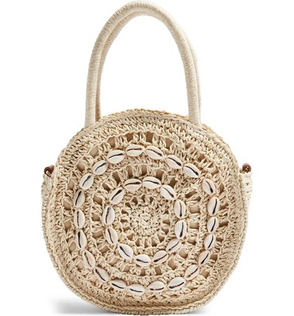 Topshop Shell Straw Round Grab Bag nude