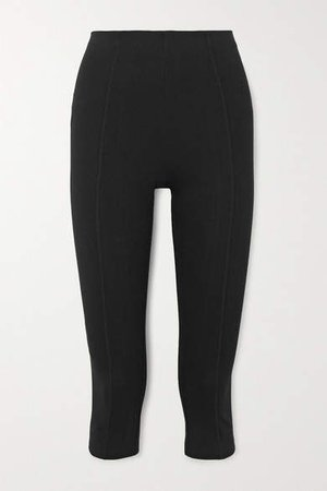 Cropped Stretch-organic Cotton-jersey Pants - Black