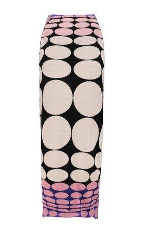 Optical-Printed Ring-Embellished Maxi Skirt By Paco Rabanne   Moda Operandi