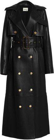 Khaite Ren Belted Leather Trench Coat