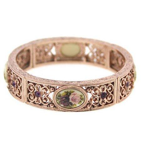1928 Jewelry Rose Gold Tone Purple Crystal Flower Stretch Bracelet