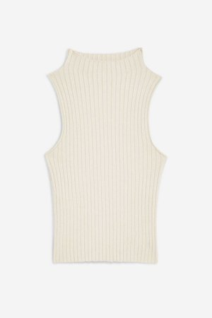 Sleeveless Ribbed Funnel Neck Tank Top | Topshop