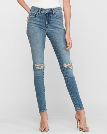 Mid Rise Ripped Jean Ankle Leggings | Express