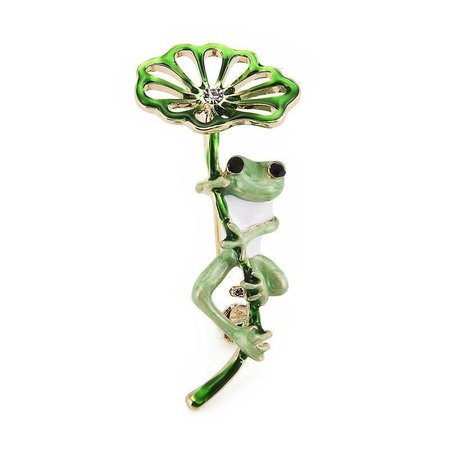 Lily Frog Brooches - green