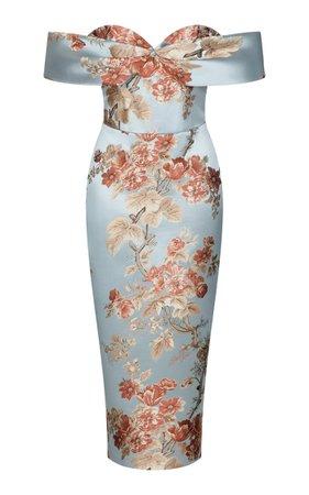 Cold-Shoulder Floral Jacquard Corset Midi Dress By Rasario   Moda Operandi