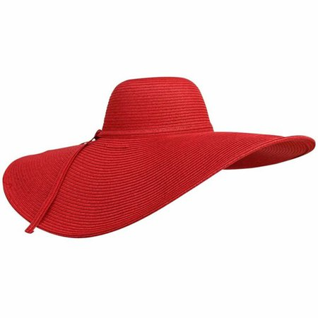 Dramatic Floppy Hat With Oversized Brim - Red - CC125BTQXRP