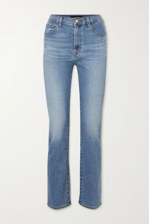 Mid denim Teagan high-rise straight-leg jeans   J Brand   NET-A-PORTER