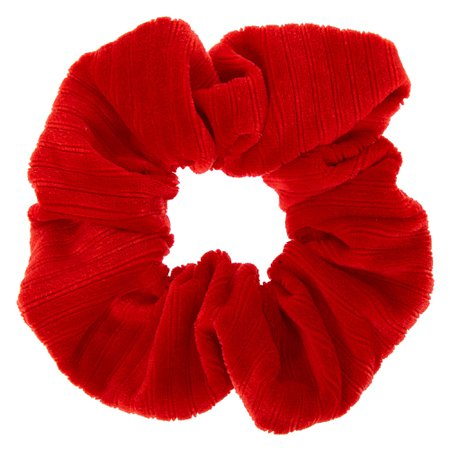 Ribbed Velvet Hair Scrunchie - Red | Claire's