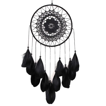 Indian Dream Catcher Hanging Decoration Handmade Feather Lace Black Dreamcatcher Bead Ornament Gift|gift gifts|gift ornaments|gift decoration - AliExpress