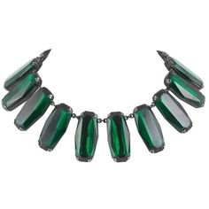 (38) Pinterest - Preowned Superb Deep Emerald Glass Panel Necklace, Yves Saint Laurent,... ($2,011) ❤ liked on Polyvore featuring jewelry, n   My Polyvore Finds