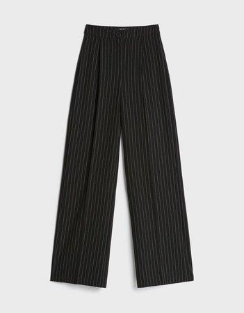 Wide-leg pants - Pants - Woman | Bershka Black