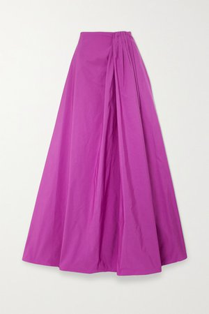 Gathered Cotton-blend Faille Maxi Skirt - Pink