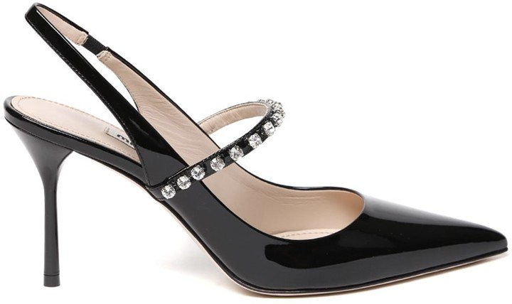 Black Patent Leather Stoned Pumps