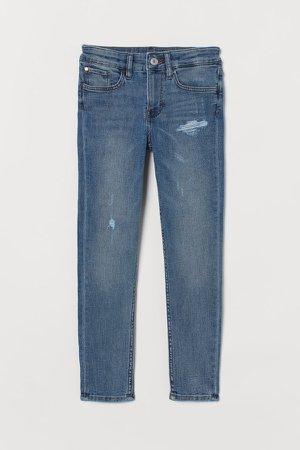 Skinny Fit Trashed Jeans - Blue