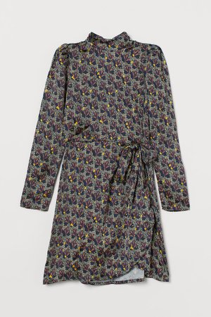 Satin Wrap-front Dress - Blue