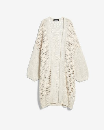 Open Stitch Balloon Sleeve Cardigan | Express