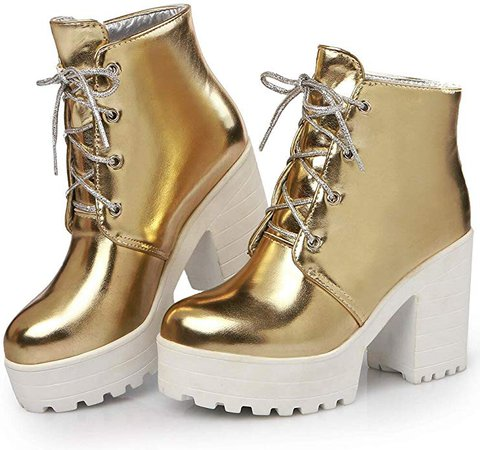 Amazon.com   SaraIris Women's Lace-up High Heel Platform Boots - Non-Slip Ankle Boots - Fashion Chunky Heel Boots Combat Boots   Ankle & Bootie