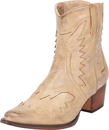 Amazon.com | Cambridge Select Women's Pointed Toe Stacked Heel Western Cowboy Ankle Bootie | Ankle & Bootie