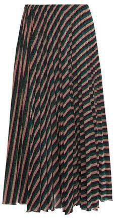 Pleated Striped Metallic Crochet-knit Midi Skirt