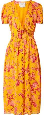 Pintucked Floral-print Silk Crepe De Chine Midi Dress - Orange