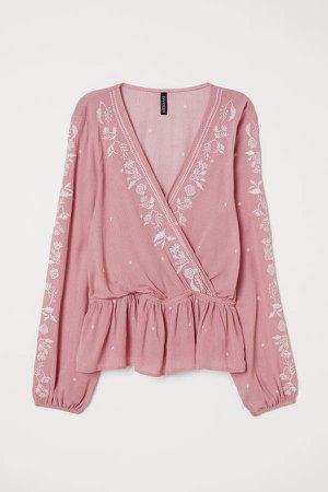 V-neck Embroidered Blouse - Pink
