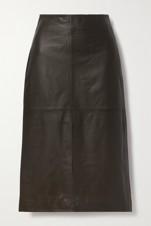 Leather Midi Skirt - Dark brown