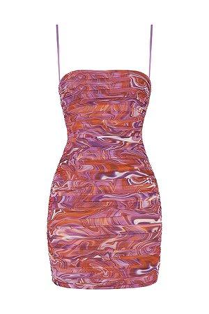 Clothing : Bodycon Dresses : 'Ella' Purple Swirl Ruched Organza Mesh Mini Dress
