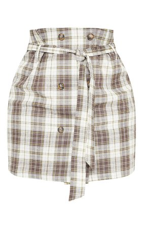 Plus Taupe Check Button Mini Skirt   PrettyLittleThing