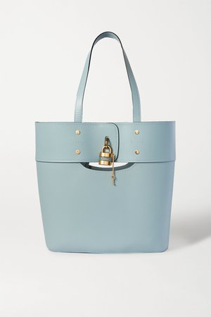 Blue Aby medium smooth and textured-leather tote | Chloé | NET-A-PORTER