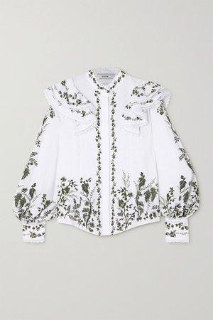 White Caterina ruffled floral-print linen blouse   Erdem   NET-A-PORTER
