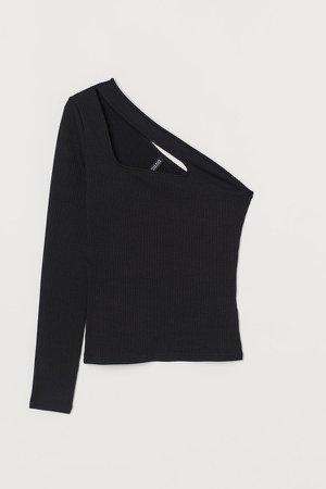 One-shoulder Top - Black