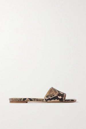 Anna Snake-effect Leather Slides - Snake print