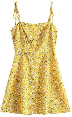 Amazon.com: ZAFUL Women's Mini Dress Spaghetti Straps Sleeveless Boho Beach Dress (S, White-I): Clothing