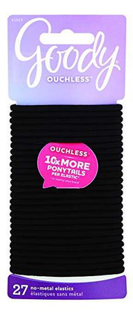 Amazon.com : Goody Ouchless Women's Braided Elastic Thick, Black, 27 Count, 4MM for Medium Hair : Ponytail Holders : Beauty