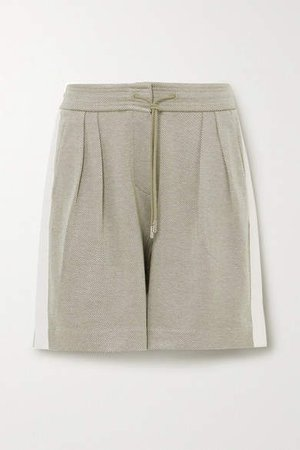 Striped Pleated Organic Cotton-blend Twill Shorts - Green