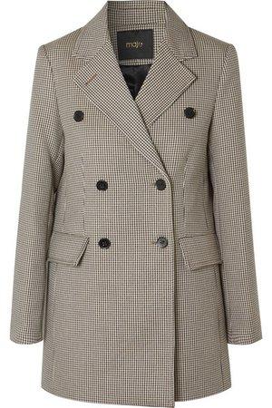 Maje | Goldi doppelreihiger Blazer aus Tweed mit Hahnentrittmuster | NET-A-PORTER.COM