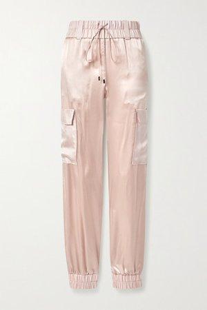 Silk-satin Track Pants - Blush