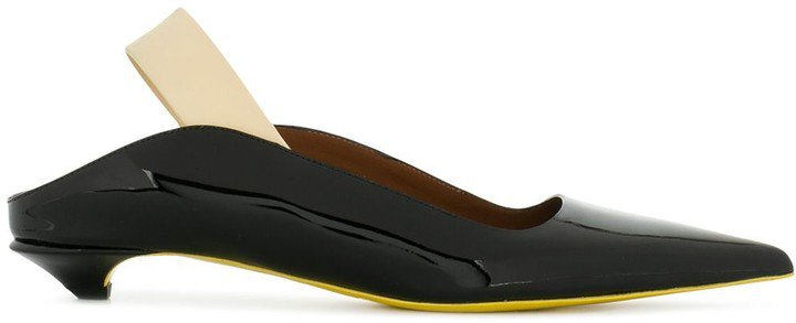 black Patent Slingback Pumps