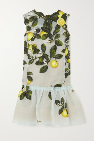 Embroidered Silk-blend Organza Mini Dress - Blue