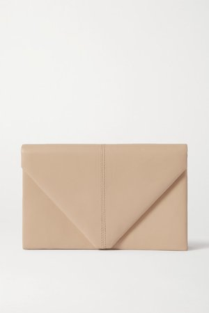 Envelope Leather Clutch - Cream