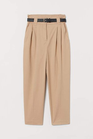 Belted Ankle-length Pants - Beige