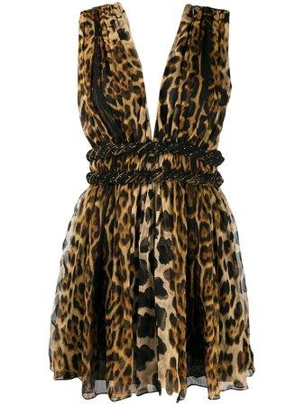 Saint Laurent Animal Print Silk Mini Dress Ss20