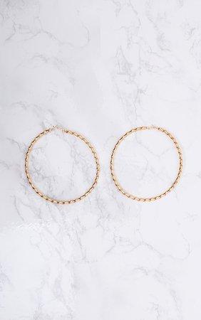 Brynn Gold Big Twisted Metal Hoop Earrings | PrettyLittleThing