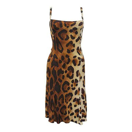 90s Gianni Versace Leopard Print Bodycon Jersey Dress, Spring 1994 For Sale at 1stdibs