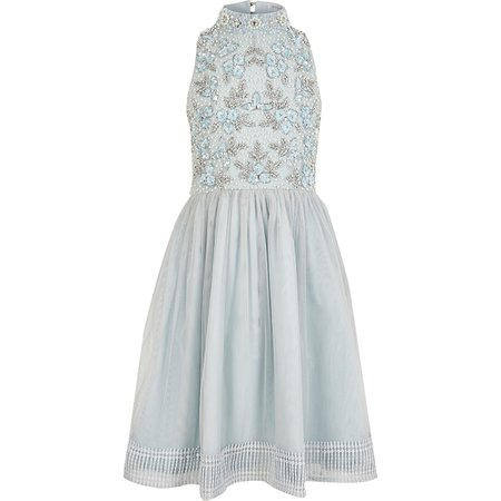 Girls blue sequin embellished prom dress   River Island