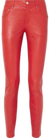 STAND - Stella Leather Slim-leg Pants - Red